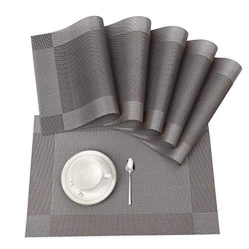ISIYINER Tischset, Platzset 6er Set rutschfest Abwaschbar PVC Abgrifffeste Hitzebeständig Platzdeckchen für Zuhause Restaurant Speisetisch Silber
