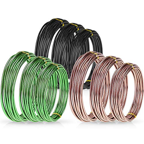 Zhanmai 9 Rolls Bonsai Wires Anodized Aluminum Bonsai Training Wire with 3 Sizes (1.0 mm, 1.5 mm, 2.0 mm), Total 147 Feet (Black, Brown, Green)