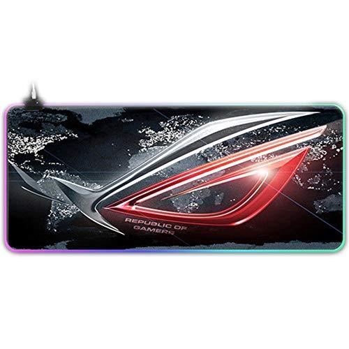 Personnalisé Grand Jeu RVB ASUS Tapis de Souris Gamer XXL Clavier En Caoutchouc MousePad USB Filaire LED Grand Rétro-Éclairage Ordinateur Bureau Tapis De Souris-marron_300x600x4mm