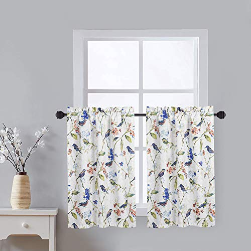 VOGOL Tier Curtains for Living Room, Birds Print Window Curtain Tier Pair 36 Inch Long Pocket Valances Panel Drapes for Small Windows, 2 Pieces