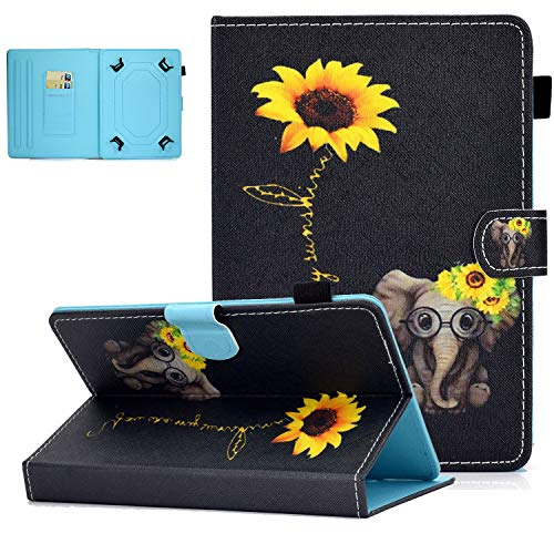 UGOcase Universal Case for 7.0 Inch Tablet, PU Leather Multi-Angle Stand Magnetic Cover with Card Slots for Galaxy Tab E 7.0/ Tab A 7.0/ Fire 7.0 2019 and More 6.5-7.5 inch Tablet - Small Elephant