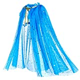 Material: cape soft, comfortable sheer mesh fabric. Cape only, not including princess dress The long and light weight colorful princess cape has sparkly star everywhere for little girls. Great for dress up on Halloween, costume party, birthday party,...