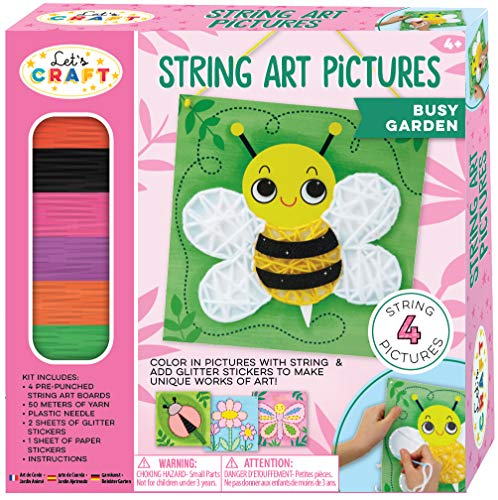 Bright Stripes String Art Pictures Busy Garden String Art Kit for Children - Kids Lacing Art Kit with 4 Lacing Boards - Fun Kids Activity Includes Yarn, 4 Pictures, and Stickers