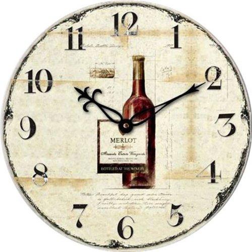 Technoline WT 1012 Orologio da Parete, Bottiglia di Vino, 34x3.3x34 cm