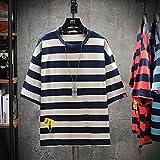 Leftroad Camiseta de algodón en Color Liso,Camiseta de Manga Corta a Rayas para Hombre de Verano Nuevo-Brown_L #,Camiseta de algodón de Varios tamaños para Hombre