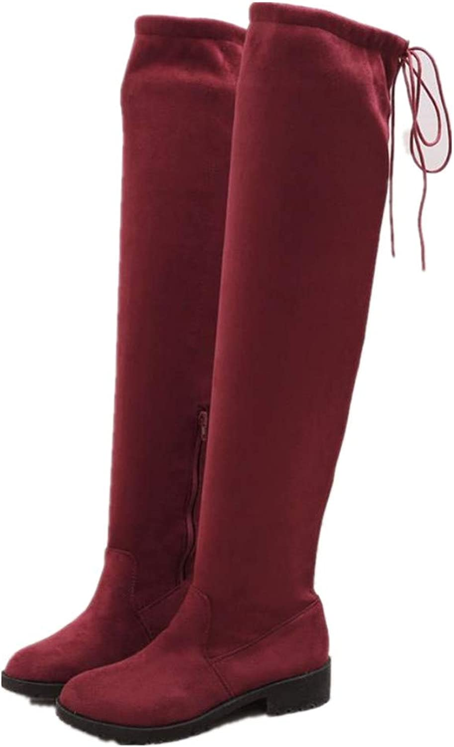 Cici shoes Womens Chunky Block Low Mid Heel Faux Suede Over The Knee Boots Stretch Leg Calf shoes