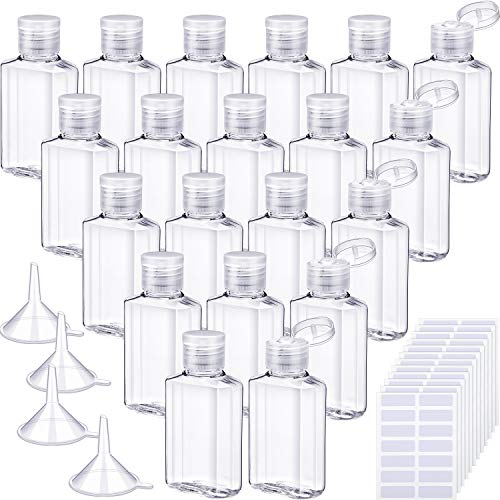 20 Pieces Clear Plastic Empty Bottle 2 oz 60 ml Refillable Travel Container Cosmetic Bottle with Flip Cap with 4 Pieces Funnels and 168 Pieces Labels for Shampoo, Liquid, Lotion, Essential Oil