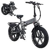 Fat Bike Bicicleta Electrica Plegable Montaña de 20 Pulgadas con Batería de Litio de 48V Extraíble,Bicicleta Eléctrica Plegable con Batería,Neumático Gordo Bicicleta de Montaña para Adulto,500w 12.8a