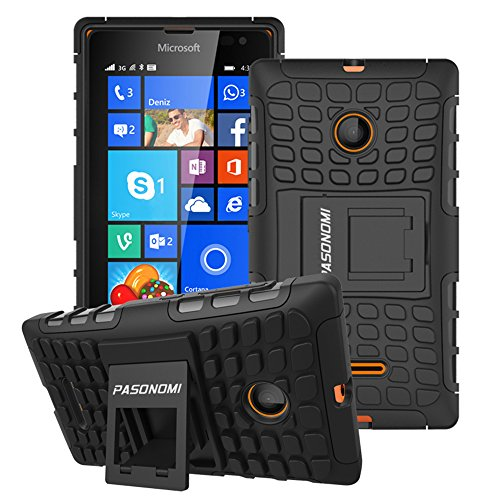 Pasonomi Schutzhülle für Lumia 435, robust, Hybrid-Schutzhülle mit weicher Innenseite & Ständer, für Microsoft Nokia Lumia 435, Schwarz