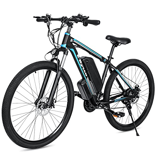 29'' Electric Mountain EBike for Adults, Road & Off Road Beach Sand Snow Electric Bicycle with 500W 48V 10AH Removable Waterproof Battery and 21 Speed Gears Commute EBike with Dual Disc Brakes