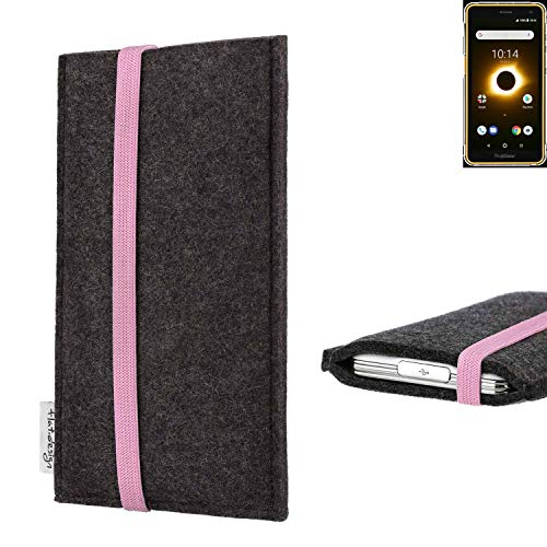 flat.design vegane Handy Tasche Coimbra für Ruggear RG650 - Schutz Hülle Tasche Filz vegan fair rosa