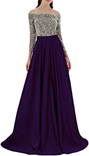 CRYYU Women's Patchwork Off Shoulder 3/4 Sleeve Sexy Evening Prom Party Maxi Dress