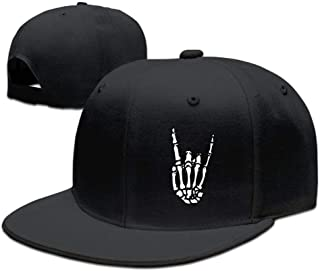 Rock N Roll Skeleton Hand 5 Unisex Snapback Flat Bill Baseball Cap Black Hats