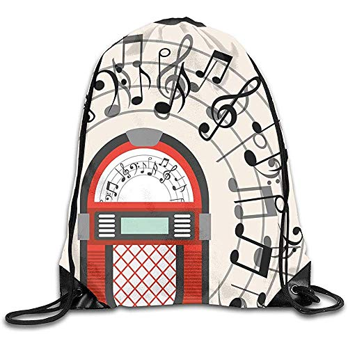 Mochilas De Cordones,Mochila De Alpinismo,Drawstring Bolsa De Gimnasio,Jukebox Old Vintage Radio Music...