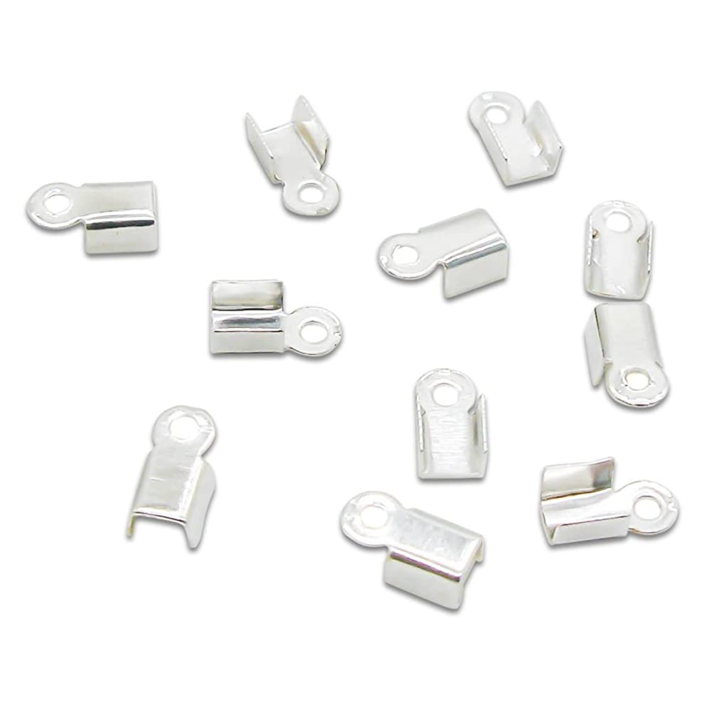 AKOAK 1000 Pcs Necklace/Cord Crimp End Tips Jewelry Caps Beads W/Loop 6 x 3mm fit 2-2.5mm cord