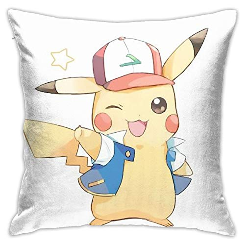 Cute Ash Pikachu Throw Pillows Case Floor Pillowcases Sofa Cushion Covers Chair Cushion Car Cushion Backrest Covers