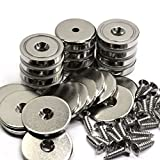 12 Packs of CMS Magnetics 88 LB Holding Power Neodymium Cup Magnets w/ #10 Countersunk Hole Dia 1.26' - Matching Strikers & Screws Included - Magnets Protected from Breaking | Magnetic Round Bases
