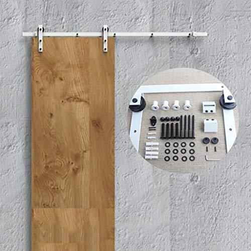 Herraje para Puerta Corredera Kit Riel colgante silencioso para puerta corrediza de granero 125-400cm - Kit completo de herrajes profesional blanco, riel para puerta corrediza Accesorios para