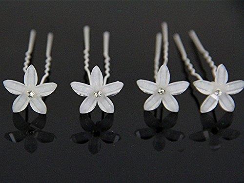 Miya® Lot de 6 magnifiques épingles à cheveux blanc fleurs mariée mariage cérémonie perle strass cheveux bijoux cheveux spirales