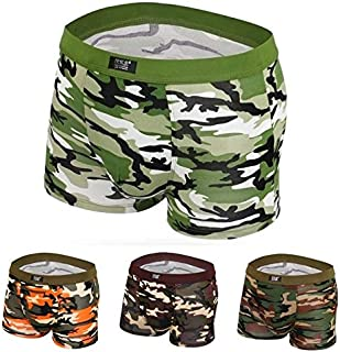 DENG&XUE 1PC Men's Camouflage Cotton Underwear Boxer Shorts, 4 Colors (Orange,XL)