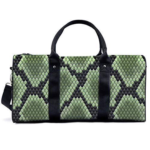 Sac de sport en peau de serpent vert sur noir, sac à main, sac de yoga, sac à bandoulière, sac fourre-tout, sac de voyage, sac fourre-tout pour adulte homme et femme