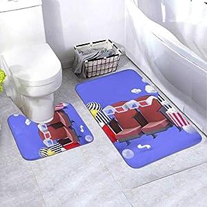 Badematten-Set Kinostuhl Erfrischungsgetränke Popcorn Unter 2-teiligem Bereich Teppich-Set Enthält Toilette Oval U-förmig konturierte Matte und Bad Teppiche, Bad Teppiche Waschbar rutschfest für Bad