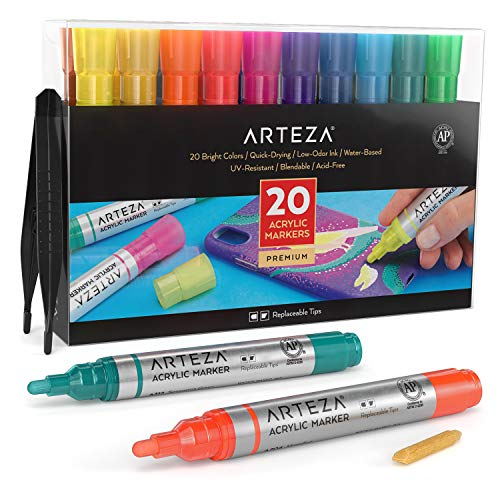Arteza Acrylic Paint Markers, Set of 20 Assorted Color Pens, Replaceable Tips, Water-Based, for...