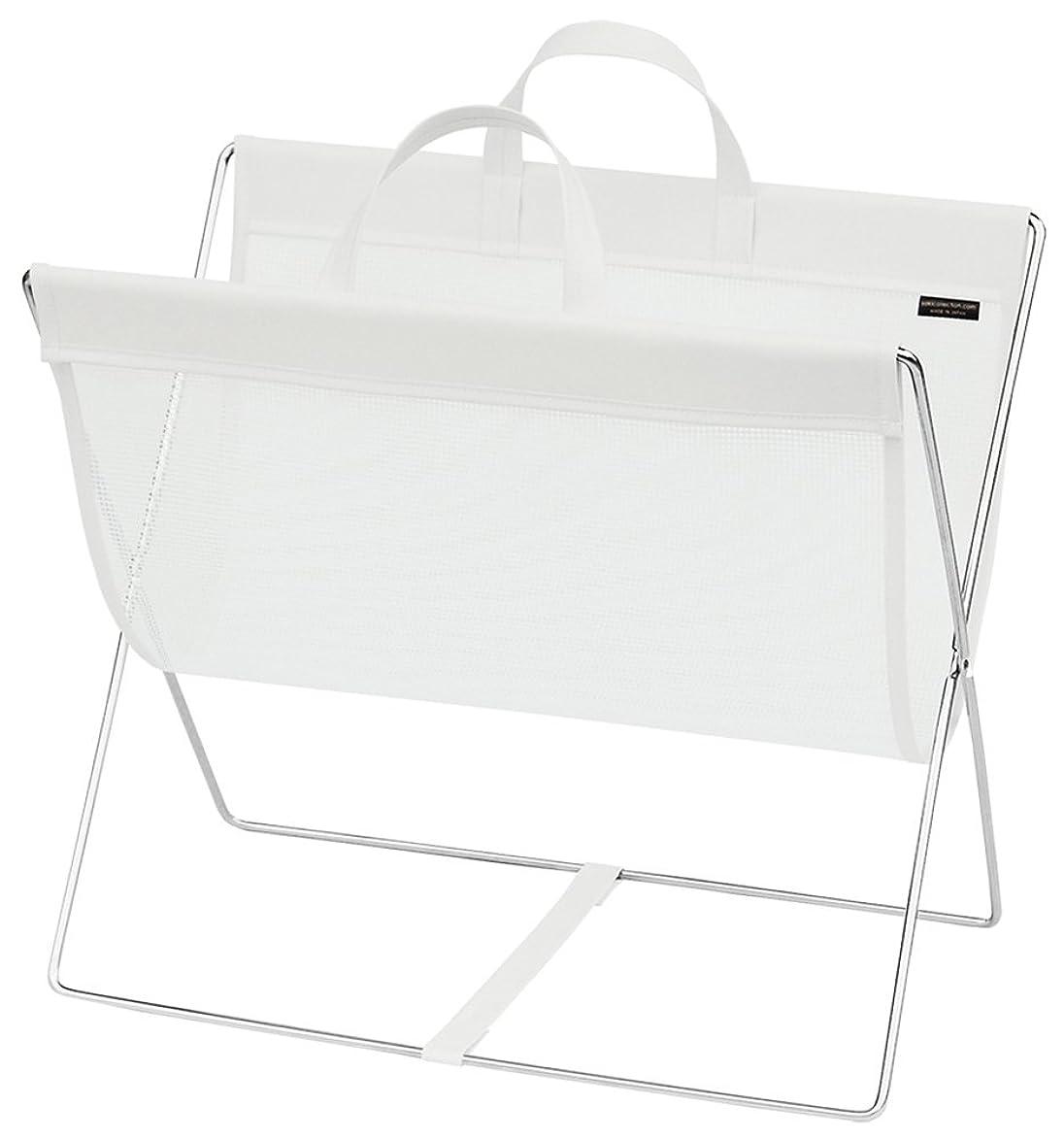 積分ラベ混合サキ 手荷物入れ セルフワゴン メッシュ×レザー調 PVC ホワイト R-358