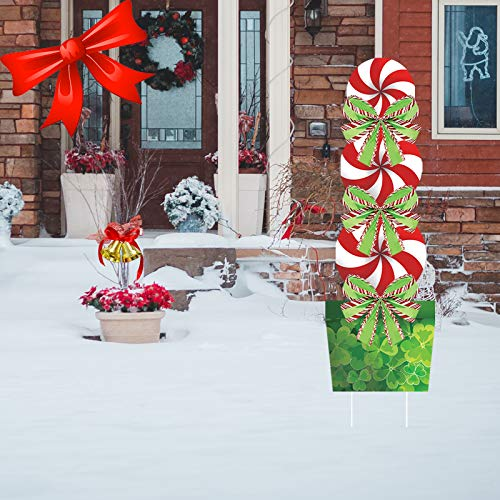 Halatool Christmas Yard Signs Stakes Decorations - 47In Candy Xmas Yard Sign Decor for Holiday Lawn Yard Outdoor Decorations