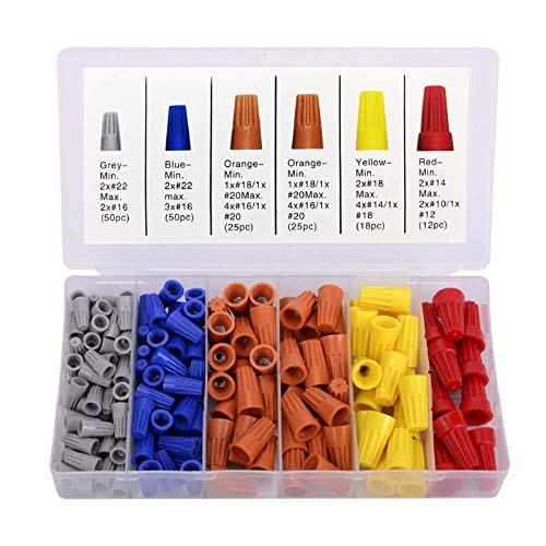 180PCS Wire Nuts, Insulating Insert Twist Electrical Wire Connectors with Spring, Portable Wire Caps for Quick Connection, Colorful Wire Caps Electrical