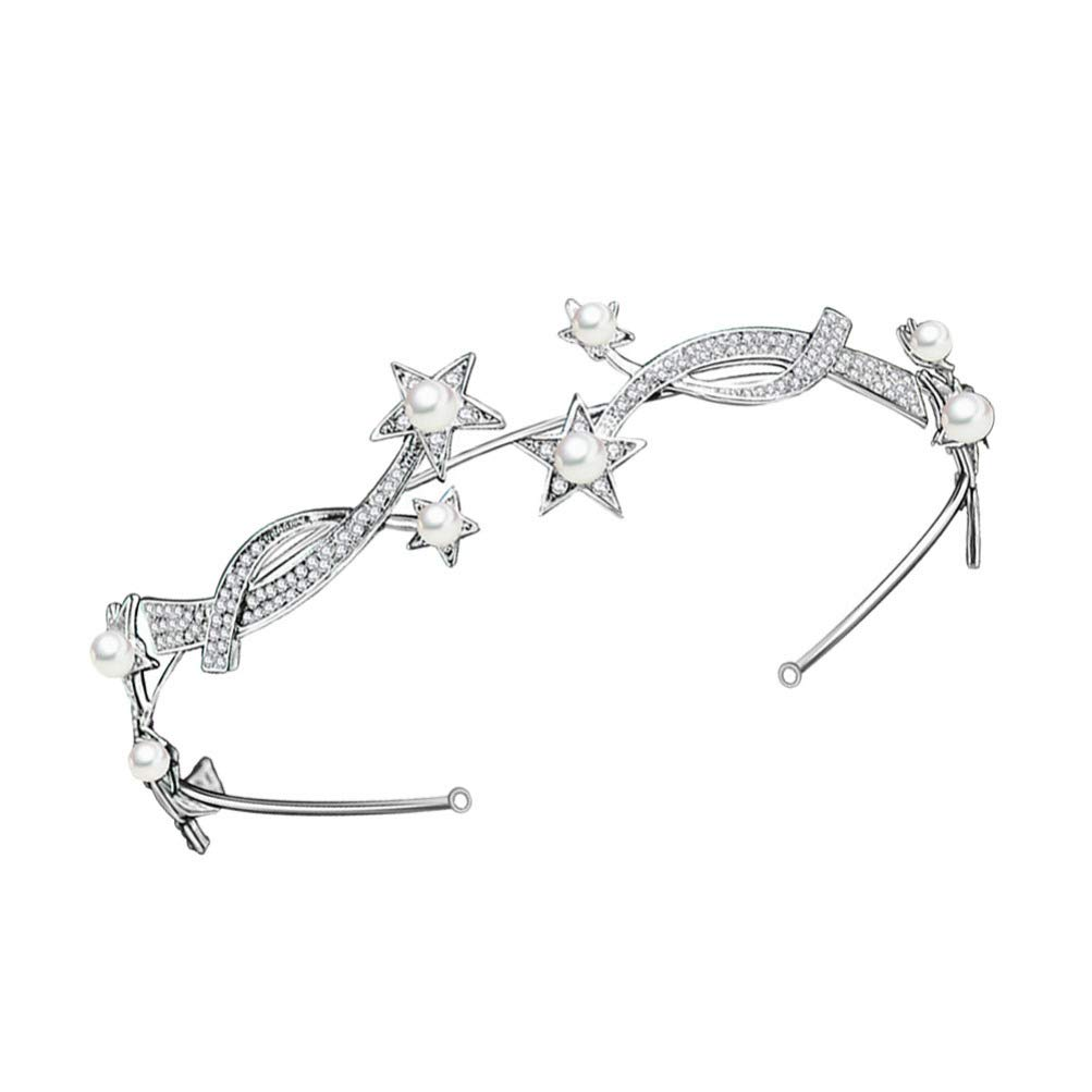 Beaupretty Crystal Star Tiara, Rhinestone Star Headband with Pearls Bridal Headpiece Wedding Party Hair Accessories for Women and Girls
