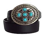 Gürtel-Guru Cinturón de piel para mujer con hebilla ornamental, varios diseños Piedras turquesas, banda marrón, hebilla plateada. Longitud: 110 cm