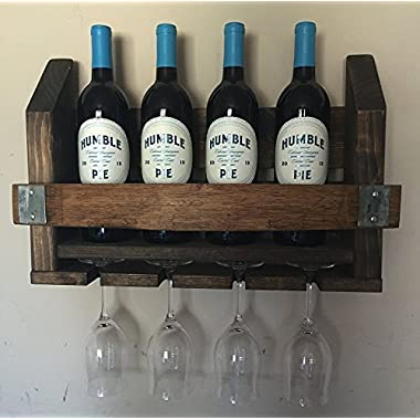 Wine Barrel Wood Wine Rack & Long Stem Glass Holder …