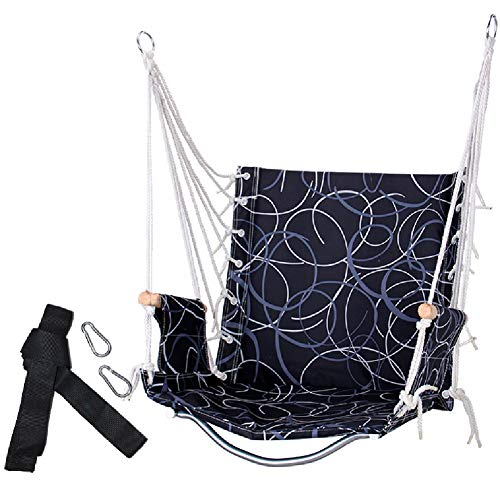 Balançoires YXX Grand hamac Chaise Porch Swing for l'intérieur Utilisation en extérieur, Capacité de 100 kg, Bois Accoudoirs, Haute 55cm, 2 Crochets, 1 Oreiller (Color : Style-7)