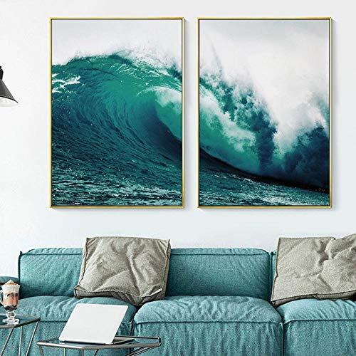 YDH Impresiones de Olas del océano Verde Azulado Póster de la Naturaleza Paisaje Marino Pintura de la Lona Arte de la Pared Cuadros para la Sala de Estar Decoración costera-50X70Cmx2 Sin Marco