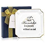 TFER Friendship Gifts For Women Ceramic Jewelry Tray With Gift Package And Message Card- The Friendship Is A Joureny Without An End- Gifts For Friends, Sister, Mom, Birthday