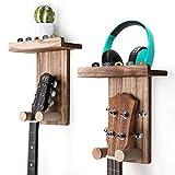 Keebofly Guitar Wall Hanger Guitar Wall Mount Holder Guitar Hanger Shelf with Pick Holder Wood Guitar Rack for Acoustic or Electric Guitar,Ukulele,Bass,Mandolin,Pack 2 Brown,Patented