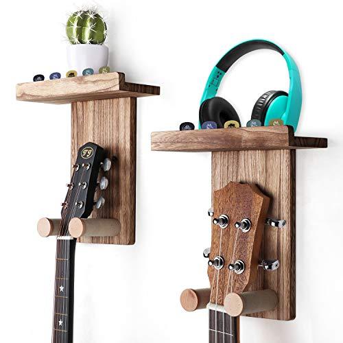 Keebofly Guitar Wall Hanger Guitar Wall Mount Holder Guitar Hanger Shelf with Pick...