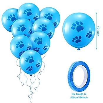Kit Chapeau Bandana d'anniversaire pour Chien Écharpe Collier Nœud Papillon Brillant de Chien Bannière Joyeux Anniversaire et 10 Pcs 12 Pouces Ballon Imprimé Patte avec Ruban pour Aniamal (Bleu)