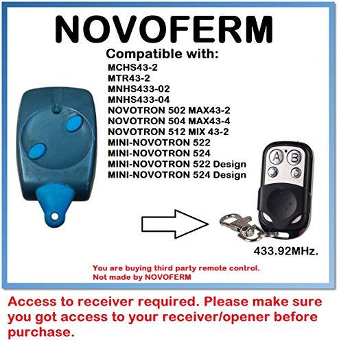 NOVOFERM MTR43-2 afstandsbediening compatibel met rolling code 433,92 MHz