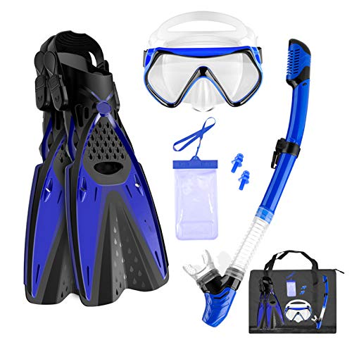 Aisrida Snorkeling Gear for Adults Snorkel Set Mask Fin Snorkel Set with Gear Bag 180° Panoramic View Anti-Fog Scuba Snorkel Mask,Adjustable Swimming Fins/Flippers,Dry Snorkel Tube (Blue, S/M)