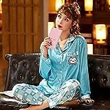 STJDM Bata de Noche,Pijamas de Mujer con Estampado de Dibujos Animados de satén de Manga Larga Pijamas de Ropa de casa Conjunto de Pijamas de Mujer Dulce y Bonito Conjunto de 2 Piezas 2XL Azul
