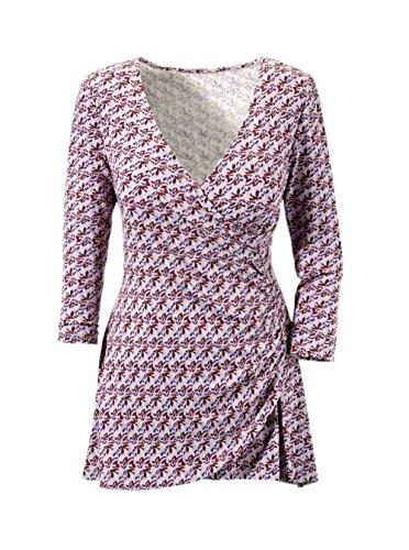 Vivance Collection Damen-Shirt Wickel-Longshirt Mehrfarbig Größe 46