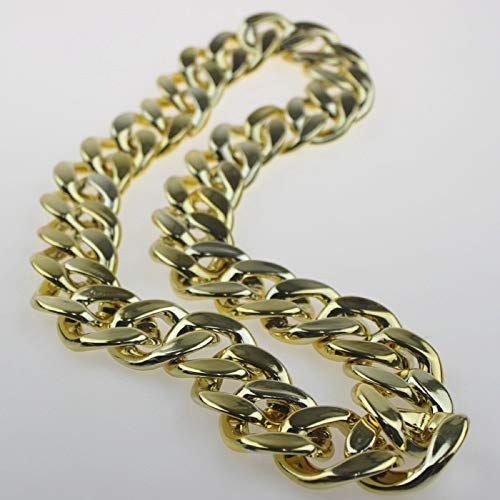 Kunze Collar de Cadena Cubana Resistente para Hombres Hip Hop Cool Style Solid Cóncavo 70cm, 80cm, 90cm, 100cm, 120cm, 150cm, 180cm