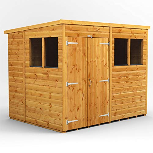 POWER | 8x6 Pent Double Door Wooden Wood Garden Shed | Size 8 x 6 Sheds | Super Fast Delivery