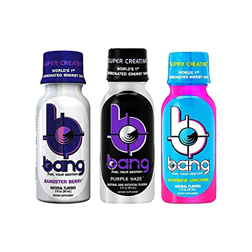 Bang Energy Shots Variety Pack. Rainbow Unicorn, Purple Haze and Bangster Berry Low Calorie Carbonated, Gluten Free and Sugar Free Energy Drink (12 Count, 3 Flavors)
