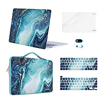 MOSISO Compatible with MacBook Pro 13 inch Case 2016-2020 A2338 M1 A2289 A2251 A2159 A1989 A1706 A1708 Plastic Creative Wave Marble Hard Case&Bag&Keyboard Cover&Webcam Cover&Screen Protector Blue