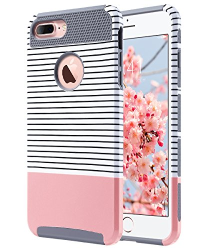 ULAK iPhone 7 Plus Case, Slim Dual Layer Protection Scratch Resistant Hard Back Cover Shock Absorbent TPU Bumper Case for Apple iPhone 7 Plus 5.5 inch, Rose Gold