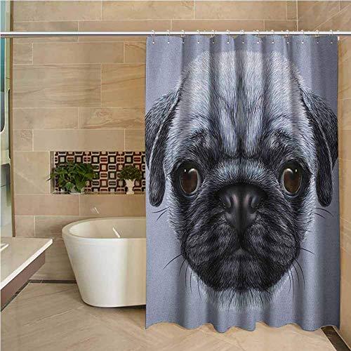 Lustiger Duschvorhang-Mops Realistischer Stil Detaillierter junger H& mit niedlichen riesigen Augen Reiner Rassen-Mops Blauer Hintergr& Schieferblau