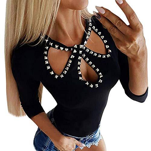 VJGOAL Moda Casual para Mujer Sexy con Cuello en v Patchwork de Encaje Manga Larga parcialmente ahuecada Camisa Jersey Blusa Tops (X-Negro, M)